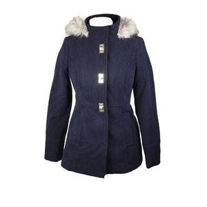 Maralyn & Me Juniors Navy Hooded Faux Fur Coat